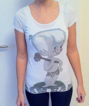 Comic T- Shirt Zara weiß blau/ grau