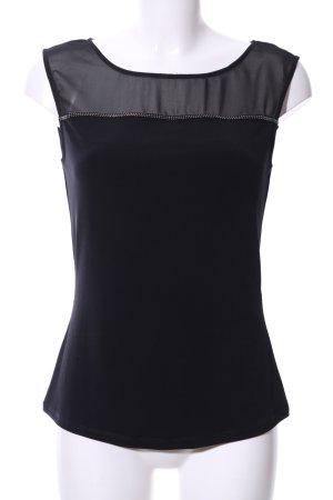 Comma ärmellose Bluse schwarz Casual-Look