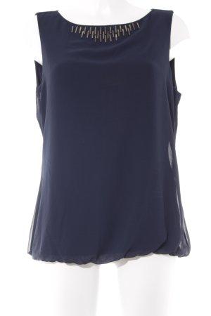 Comma ärmellose Bluse dunkelblau Business-Look
