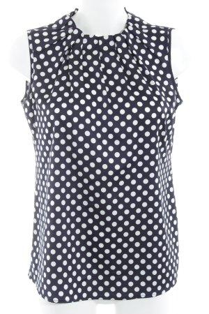 Comma ärmellose Bluse dunkelblau-weiß Punktemuster 50ies-Stil
