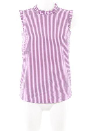 Comma Blouse sans manche violet-blanc motif rayé élégant