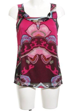 Comma ärmellose Bluse pink-purpur abstraktes Muster Elegant