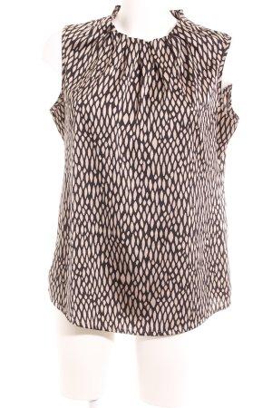 Comma ärmellose Bluse schwarz-beige abstraktes Muster Elegant