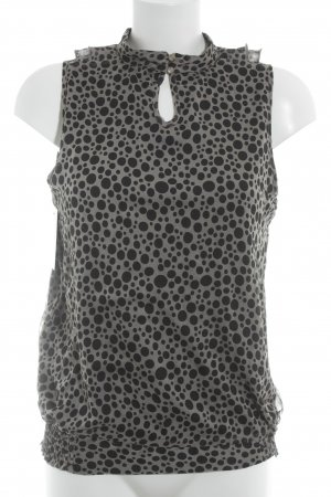 Comma Mouwloze blouse zwart-grijs-bruin gestippeld patroon casual uitstraling