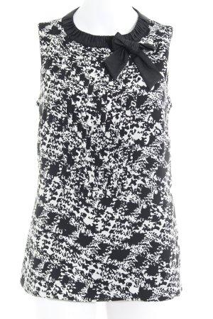 Comma Blouse sans manche noir-blanc motif tache de couleur élégant