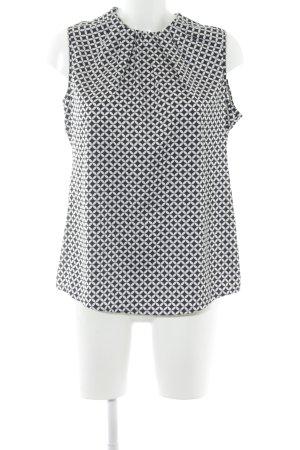 Comma ärmellose Bluse schwarz-weiß grafisches Muster Elegant