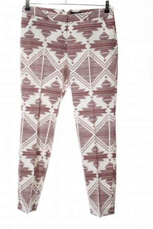 Comma Pantalon brons-wit grafisch patroon casual uitstraling