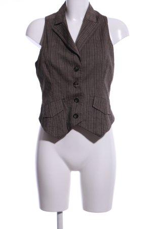 Comma Gilet de costume brun motif rayé style d'affaires
