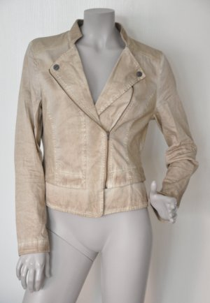 Comma Biker-Jacke 81.406.54.5526 Baumwolle Jersey Sweat beige dirty washed Gr. 38 FAST WIE NEU