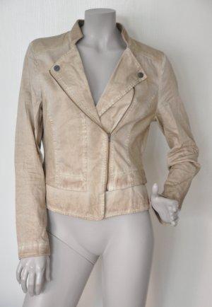 Comma Biker-Jacke 81.406.54.5526 Baumwolle Jersey Sweat beige dirty washed Gr. 38 FAST WIE NEU