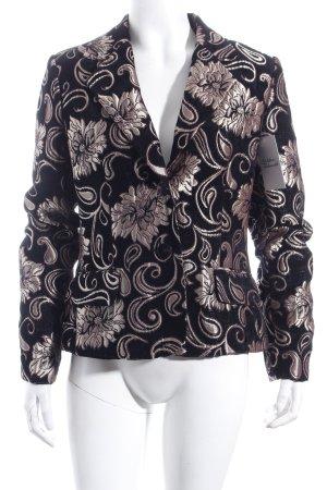 Comma Blazer schwarz-goldfarben florales Muster extravaganter Stil