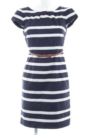 Comma Pencil Dress dark blue-white striped pattern elegant