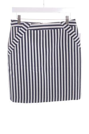 Comma Bleistiftrock dunkelblau-wollweiß Streifenmuster Marine-Look