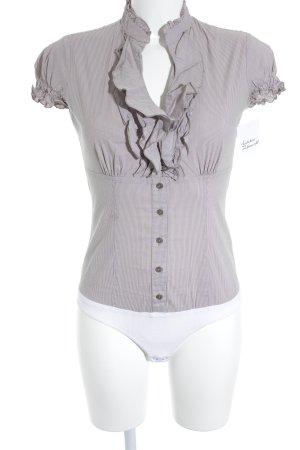 Comma Blusen-Body camel-weiß Streifenmuster Business-Look