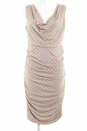 Comma Blusenkleid beige-weiß Punktemuster klassischer Stil