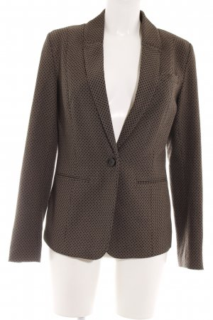 Comma Boyfriend-Blazer schwarz-camel grafisches Muster Business-Look