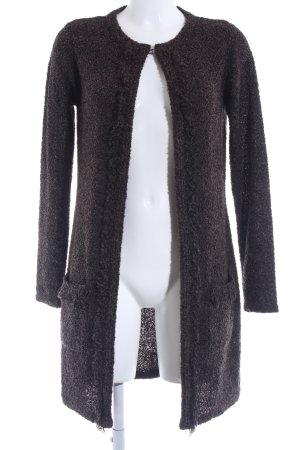 Comma Cardigan schwarzbraun-graubraun Kuschel-Optik