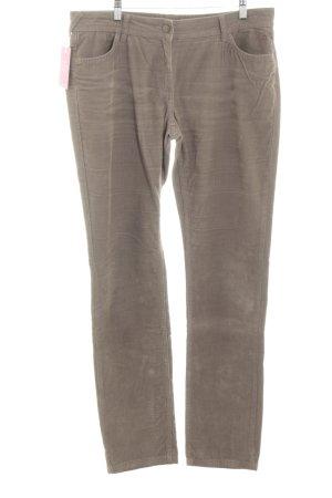 Comma Pantalone di velluto a coste crema-marrone stile semplice