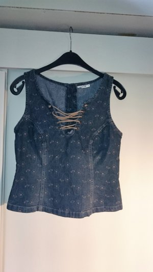 Comma Corsagentop Jeans Stretch Stickerei 38