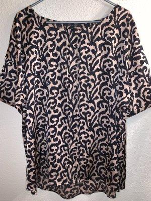 Comma Blouse à manches courtes noir-marron clair polyester