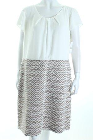 Comma Etuikleid weiß-beige grafisches Muster Eleganz-Look