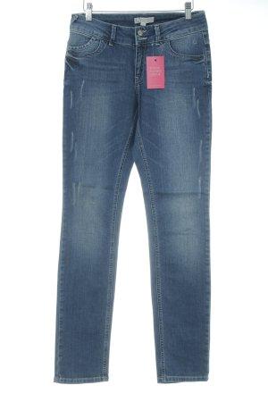 Comma Pantalón de cinco bolsillos azul lavado con ácido
