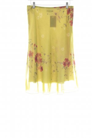 Comma Flared Skirt lime yellow floral pattern hippie style