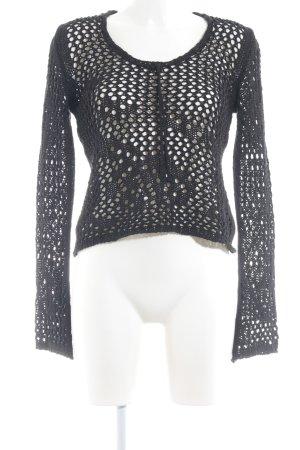 Comma Pull en crochet bleu foncé motif tricoté lâche style décontracté