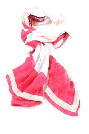 Comma Halsdoek roze-wit gestreept patroon casual uitstraling