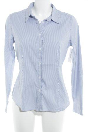 Comma Hemd-Bluse weiß-stahlblau Streifenmuster Business-Look