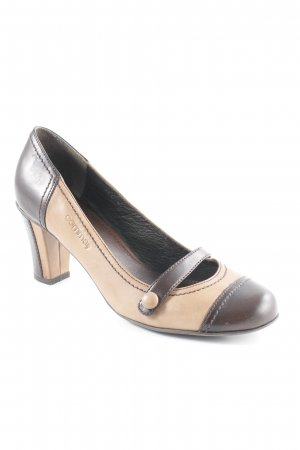 Comma High Heels braun-cognac abstraktes Muster Casual-Look