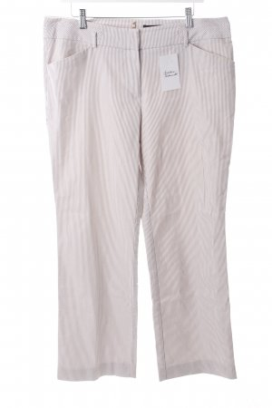 Comma Hose weiß-beige Streifenmuster Casual-Look