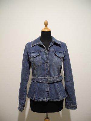 Comma Jeansjacke Jeansblazer JEanshemd Druckknöpfe tailliert elastisch Stretch Elasthan 38 Gürtel Seventies Look Boho LA Kim Kendall Gigi