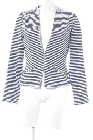 Comma Jerseyblazer weiß-anthrazit Streifenmuster Casual-Look