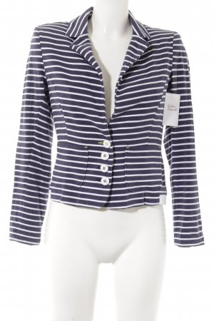 Comma Jerseyblazer weiß-dunkelblau Streifenmuster Casual-Look