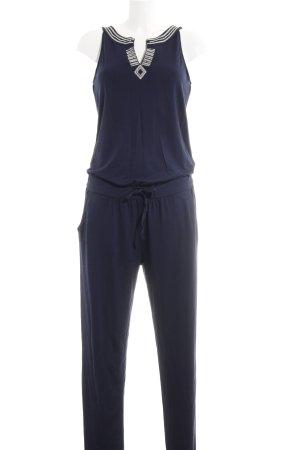 Comma Jumpsuit dunkelblau-silberfarben Elegant