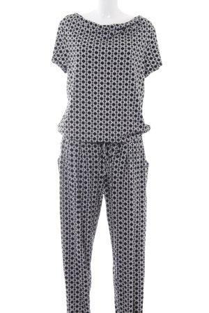 Comma Jumpsuit schwarz-weiß abstraktes Muster Casual-Look