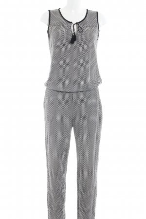 Comma Jumpsuit zwart-wit Patroon-mengeling casual uitstraling