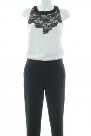 Comma Jumpsuit weiß-schwarz Casual-Look