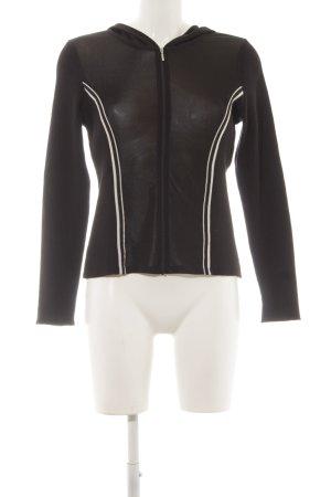 Comma Veste à capuche noir-blanc style décontracté