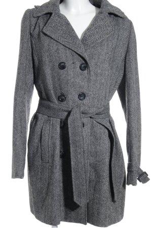 Comma Hooded Coat black-natural white herringbone pattern classic style