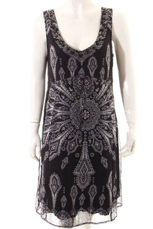 Comma Kleid dunkelblau-weiß abstraktes Muster Casual-Look
