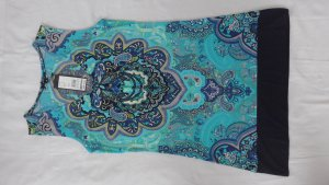 Comma Kleid Longtop türkis dunkelblau Ornament Größe 38 neu mit Etikett