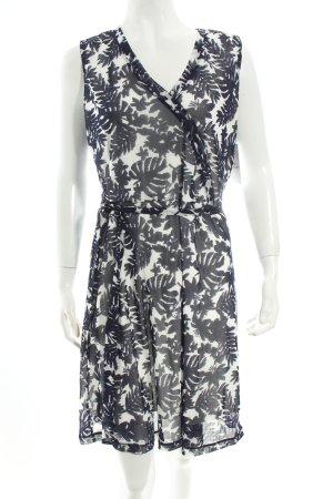 Comma Kleid weiß-dunkelblau florales Muster klassischer Stil