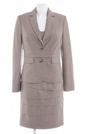 Comma Ladies' Suit light brown Vichy check pattern classic style