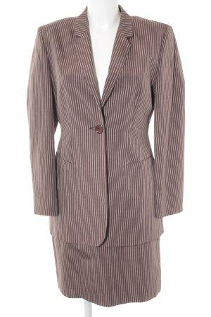 Comma Kostüm hellbraun-weiß Streifenmuster Business-Look