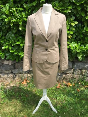 Comma Kostüm Rock Blazer Anzug Hose beige 34 top Business 3 Teile