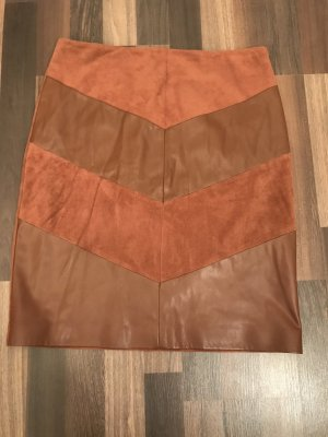 Comma Faux Leather Skirt brown-cognac-coloured