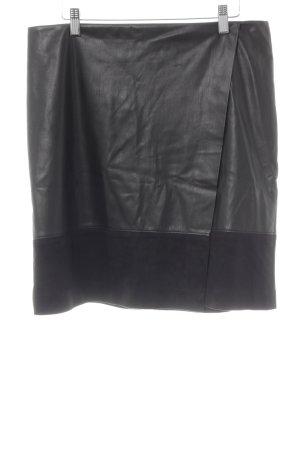 Comma Jupe en cuir synthétique noir Aspect de combinaison de matériaux