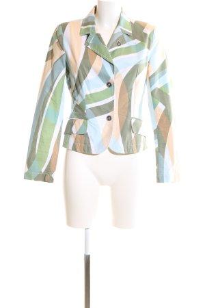 Comma Kurz-Blazer grün-wollweiß abstraktes Muster Business-Look